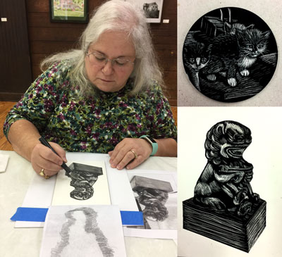 Jennifer Borja works on foo dog drawing