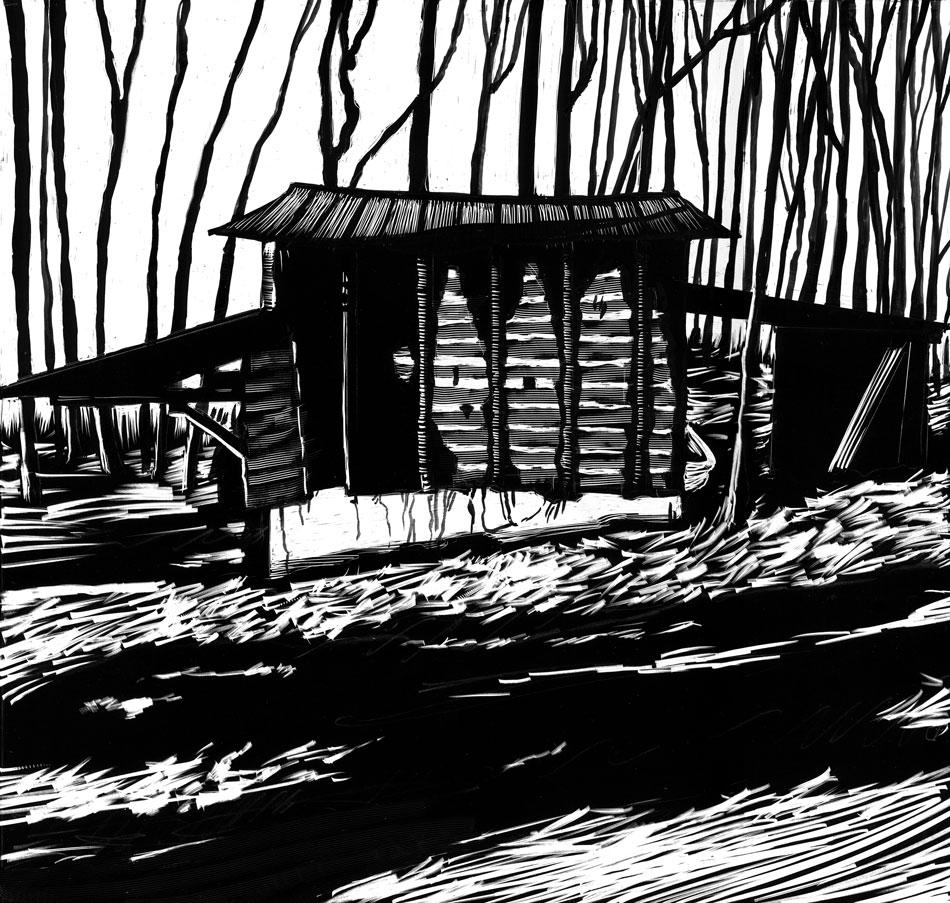 drawing of barn