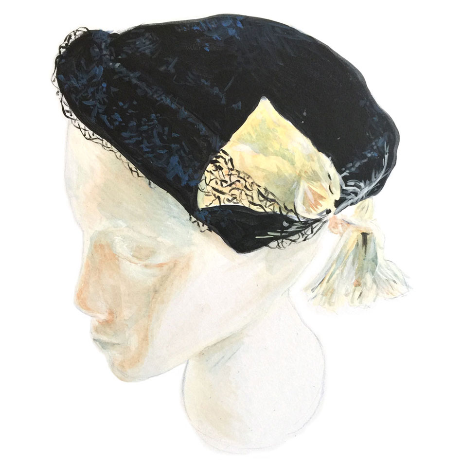 Black Velvet hat with Veil and Feather painting