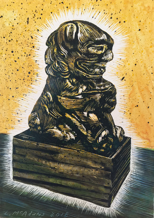 glowing foo dog with gold background rendered in scratchboard by Lori McAdams