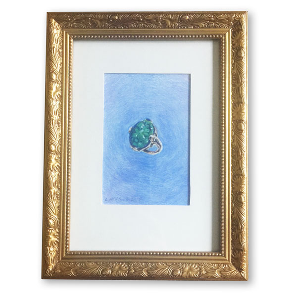 Chinese green jade ring against a blue background in a gold frame rendered by Lori McAdams