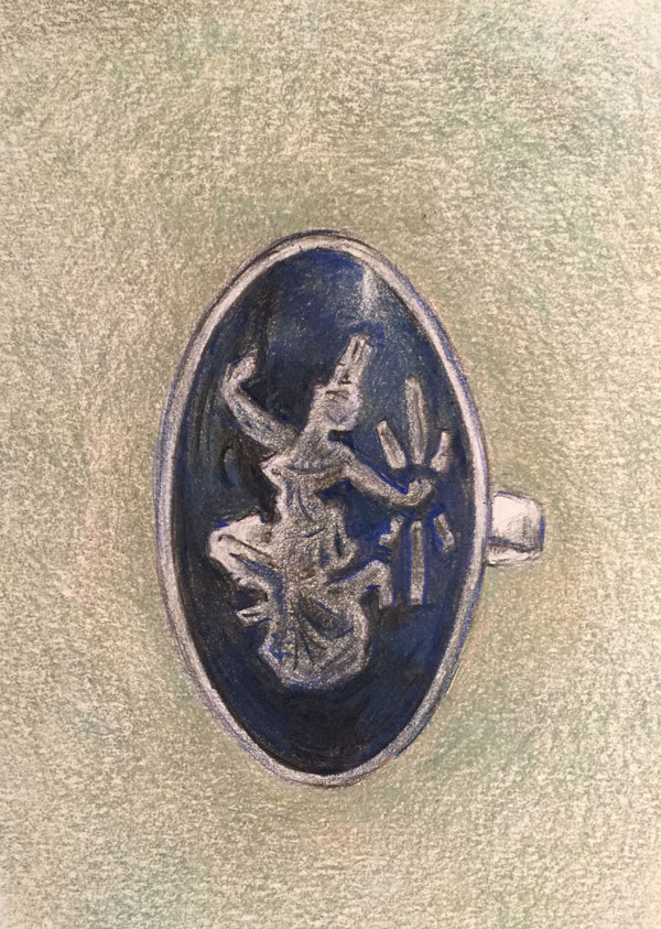 Oval silver Thai ring rendered in colored pencil by Lori McAdams