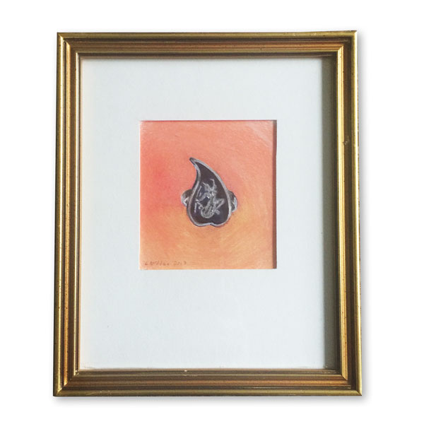 Teardrop silver Thai ring in a gold frame rendered in colored pencil by Lori McAdams