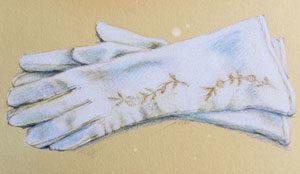 White Leather Vintage Gloves