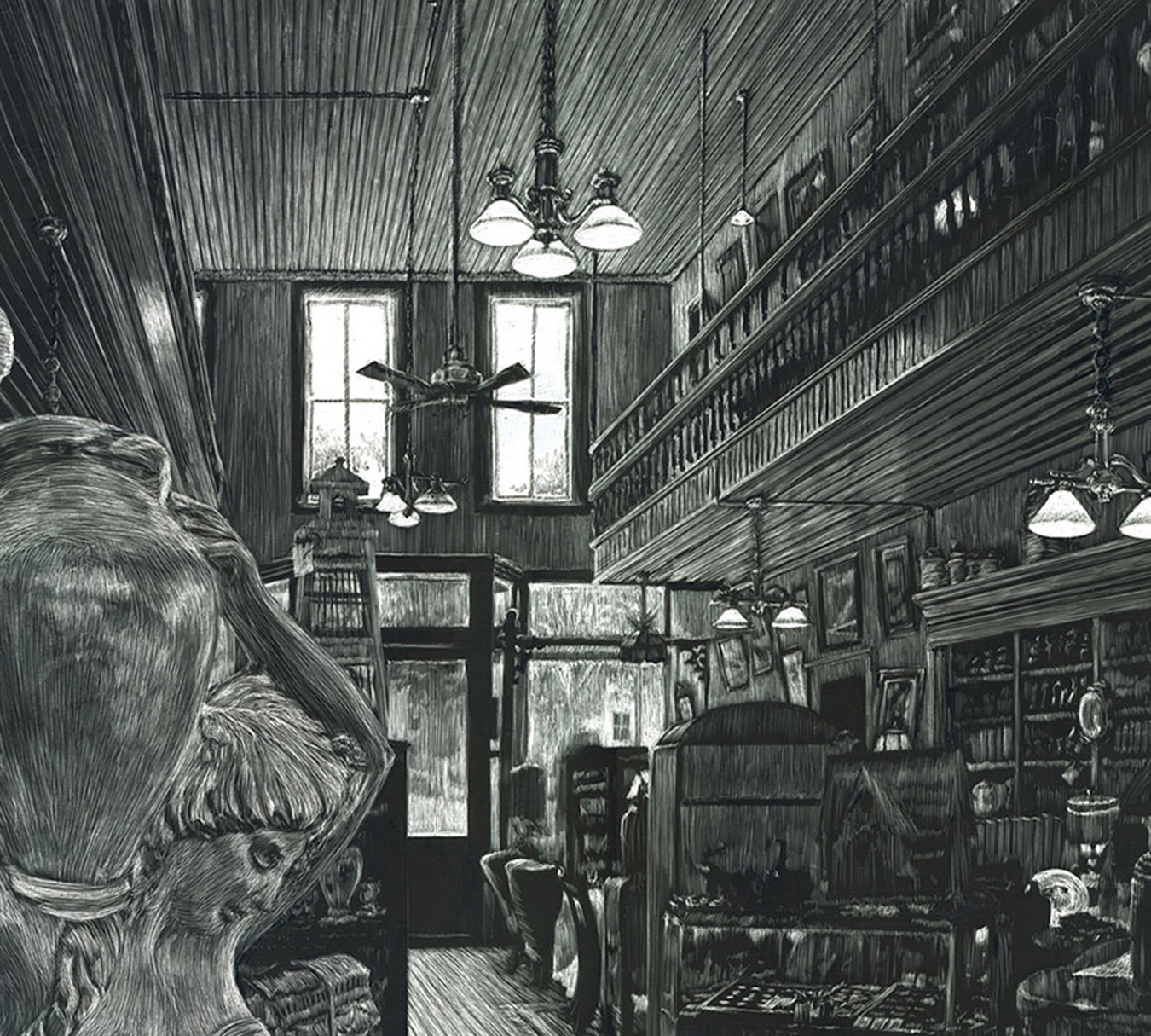 scratchboard drawing of antique store