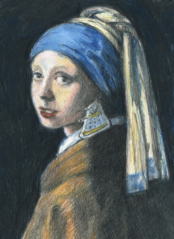 Colored pencil study of Vermeer's Girl with a Pearl Earring with a Dalek earring
