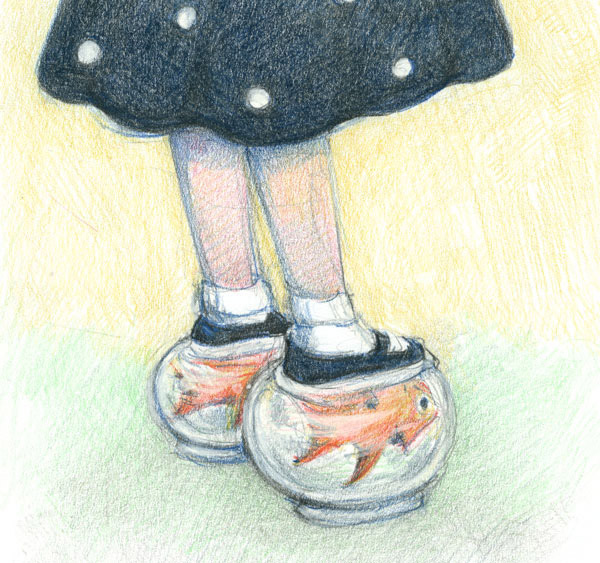 girl wearing goldfish shoes
