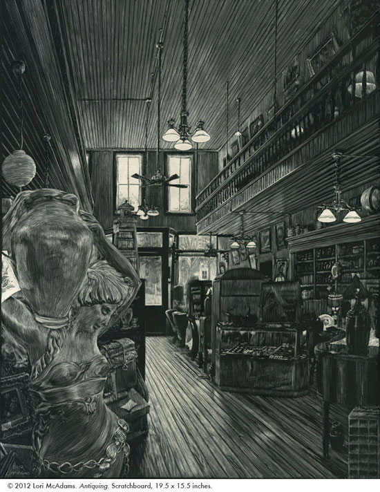 Scratchboard drawing of old biulding with antiques