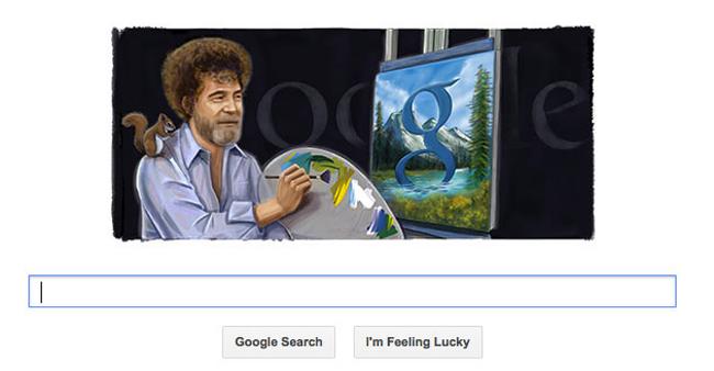 Bob Ross portrait on Google search page