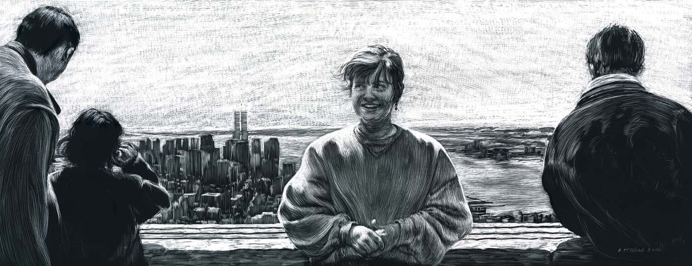 father and daughter, woman, and man viewing on top of empire state bldg scratchboard drawing