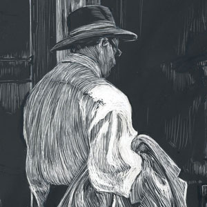 "man in hat holding coat looking at now hiring sign in store window scratchboard drawing named ""Ray of Hope"""