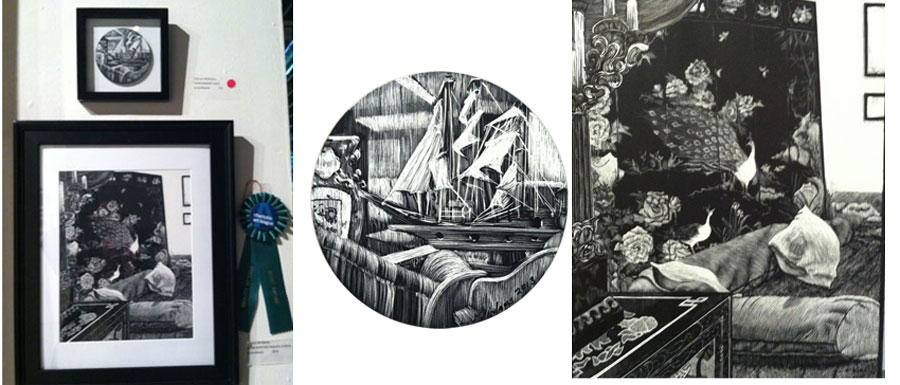 scratchboard drawing with prize ribbon