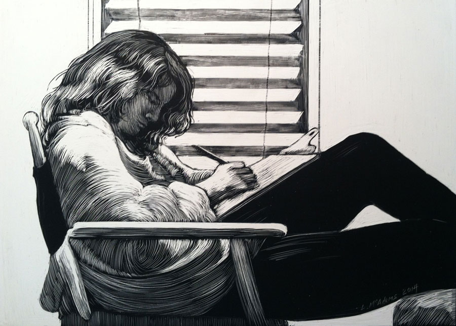 Drawing of a girl doing homework