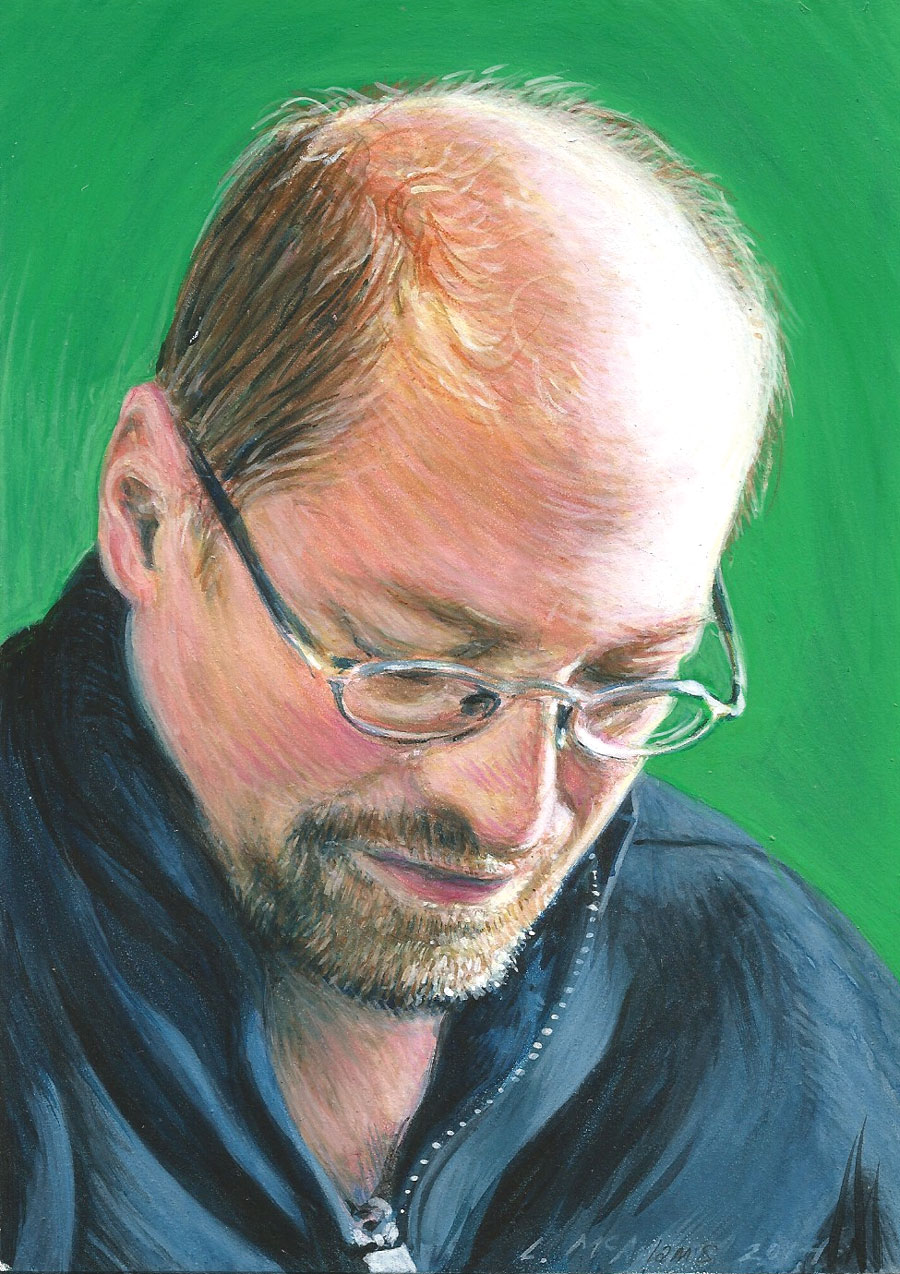 portrait of David in glasses looking down with a green background paited in mixed media by artis Lori McAdams