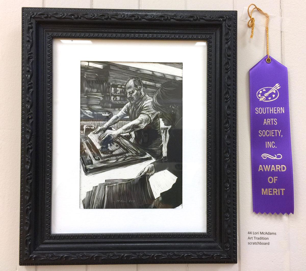scratchboard artwork wins Gateways Merit award
