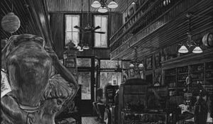 drawing of antique store
