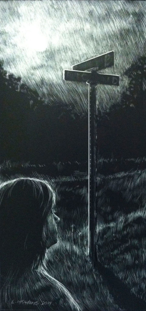 """woman viewing 2 signs at crossroads scratchboard drawing named """"midnight at the crosroads"""""""