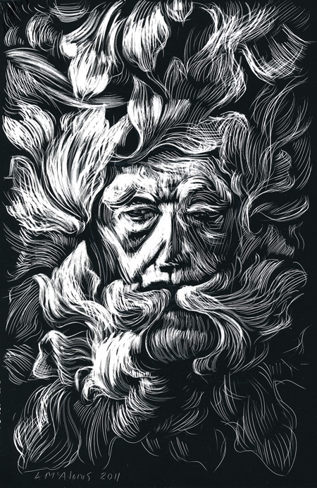 traditional green man scratchboard drawing