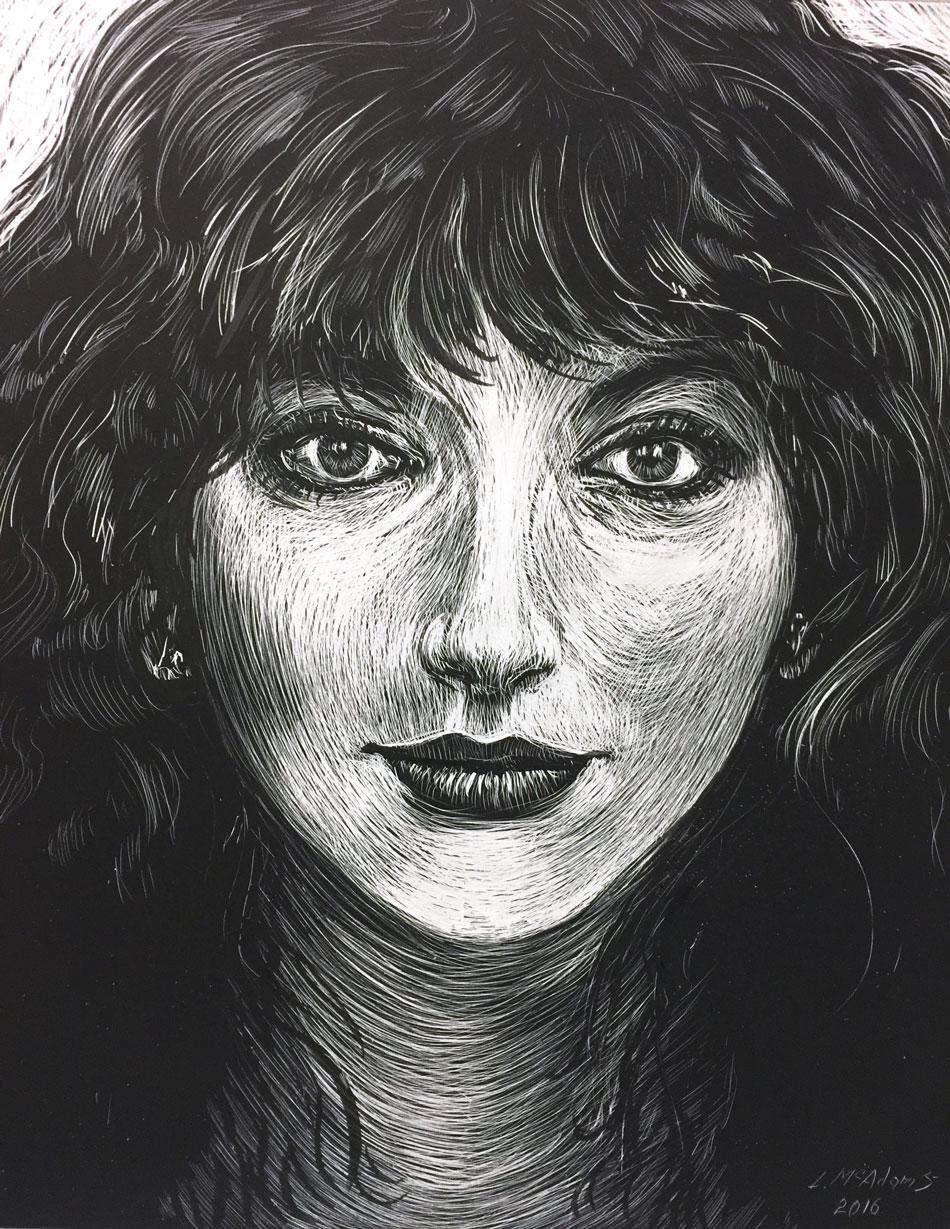 Kate Bush scratchboard drawing