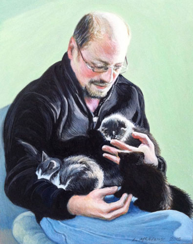 watercolor and acrylic portrait of man holding 3 kittens against a green background