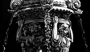 black and white scratchboard of Carboro Fountain