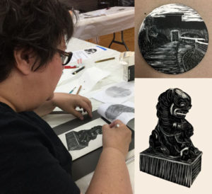 Cass Roberts works on foo dog drawing