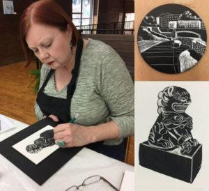 Jewel Reavis works on foo dog drawing and Charlotte Greenway and Foo Dog drawings