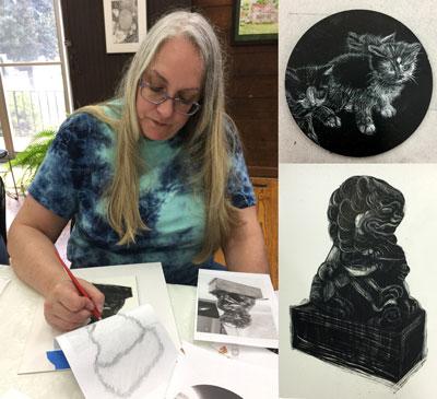 Lynn Hall drawing foo dog