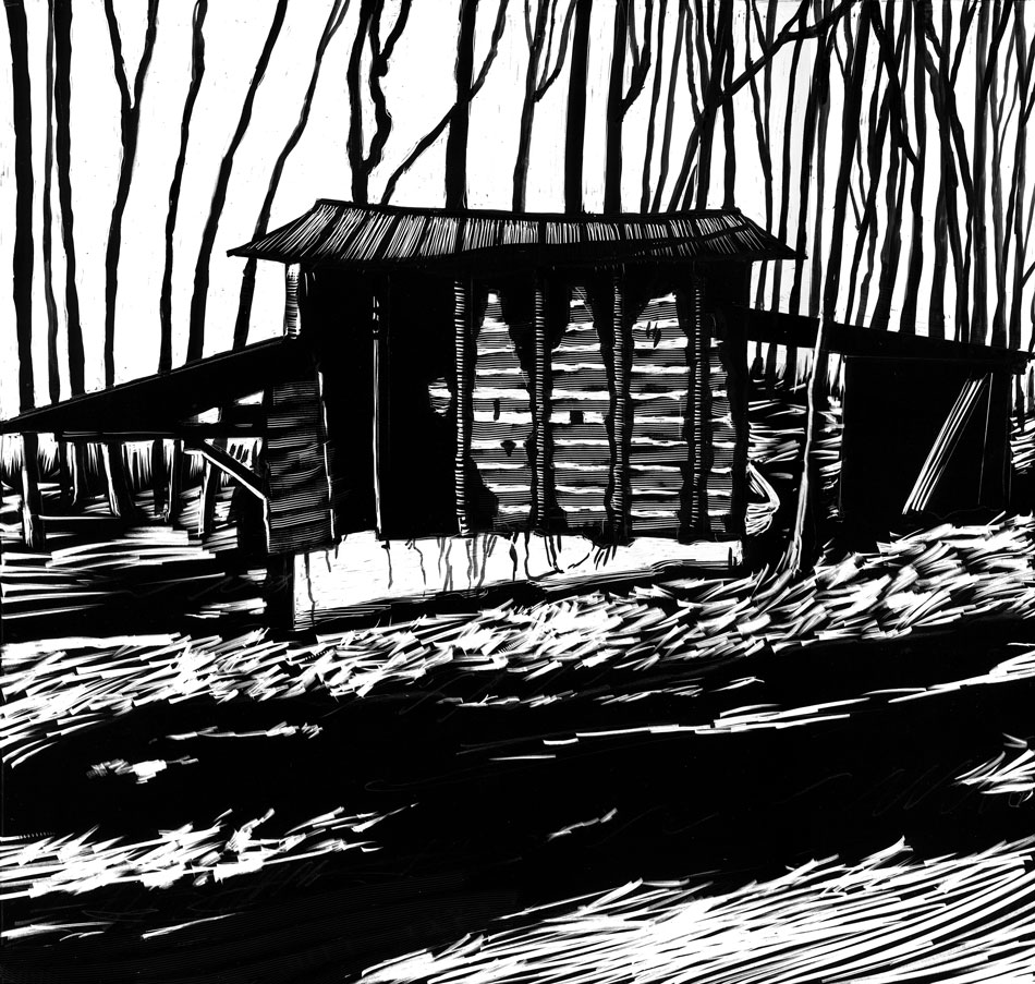drawing of barn