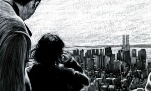 father and daughter viewing on top of empire state bldg scratchboard drawing