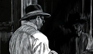 detail of man in hat holding coat looking at now hiring sign in store window scratchboard drawing