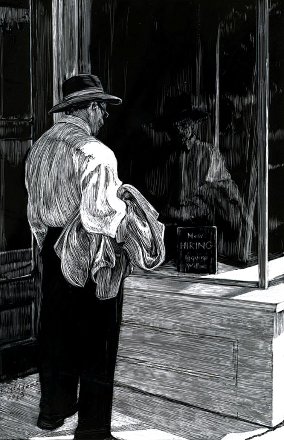 man in hat holding coat looking at now hiring sign in store window scratchboard drawing