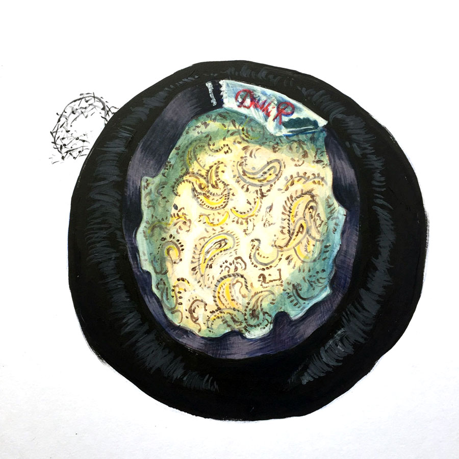 black velvet beret with satin yellow paisley lining in watercolor