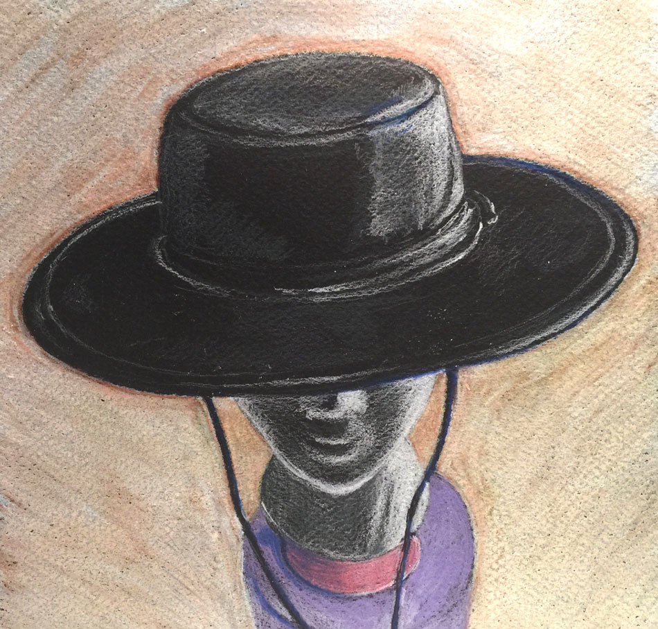black leather bolero hat rendered in colored pencil