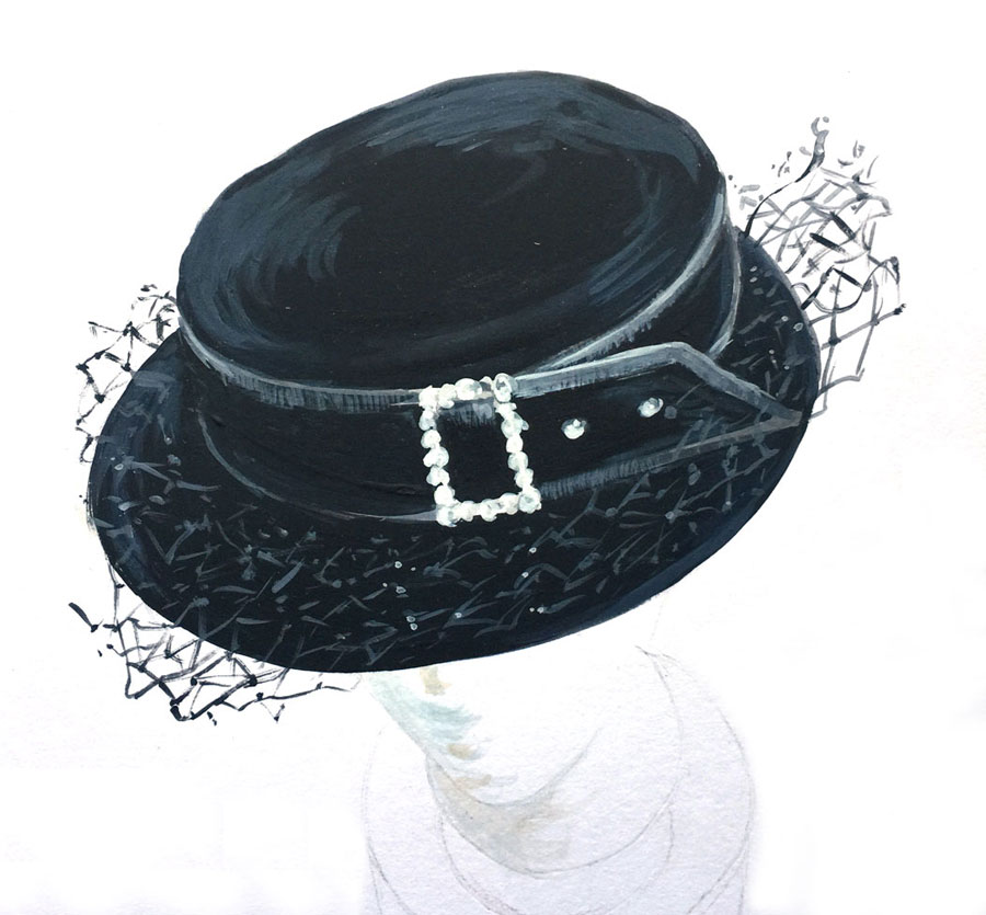 black velvet brimmed hat with buckle painted in watercolor
