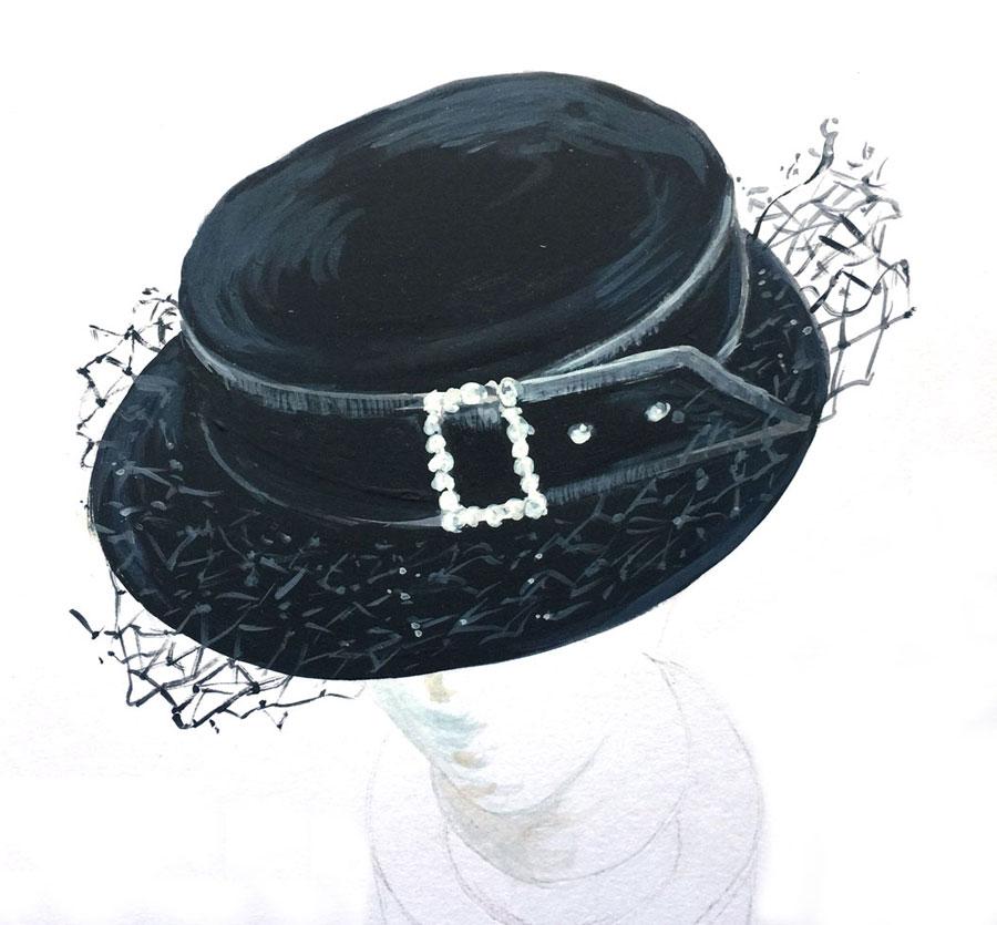 black velvet brimmed hat