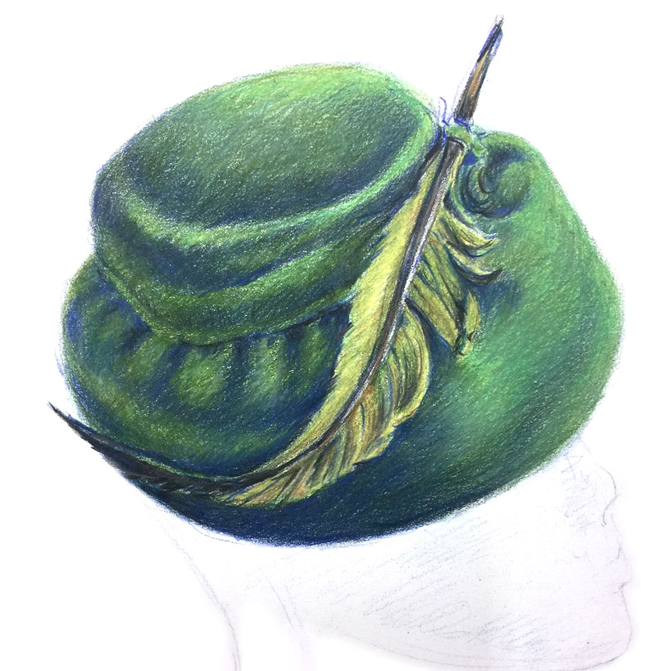 green felt hat rendered in colored pencil