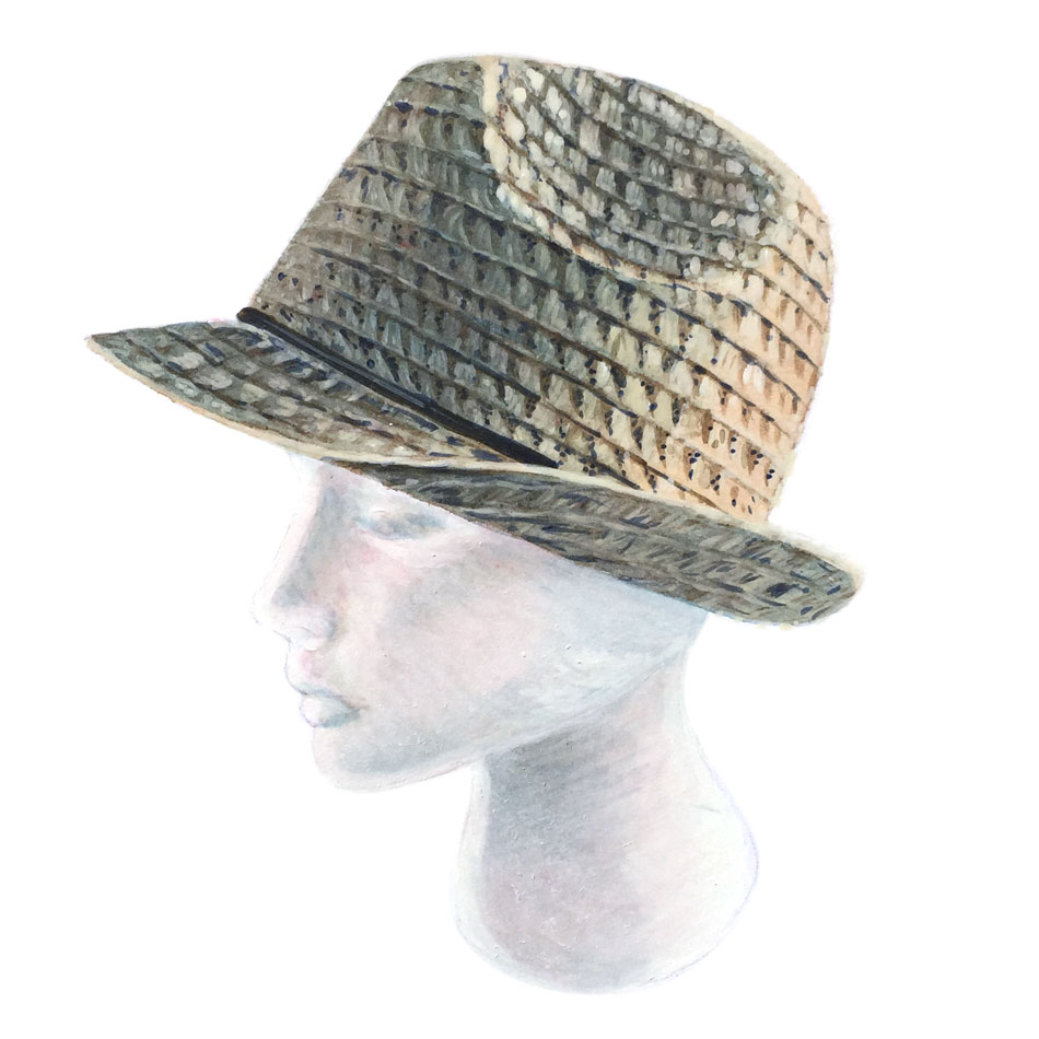 trilby straw hat on dummy head rendered in watercolor