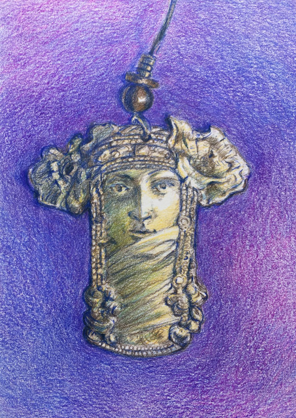 Golden brass art nouveau stye earring with a purple background rendered in colored pencil by Lori McAdams