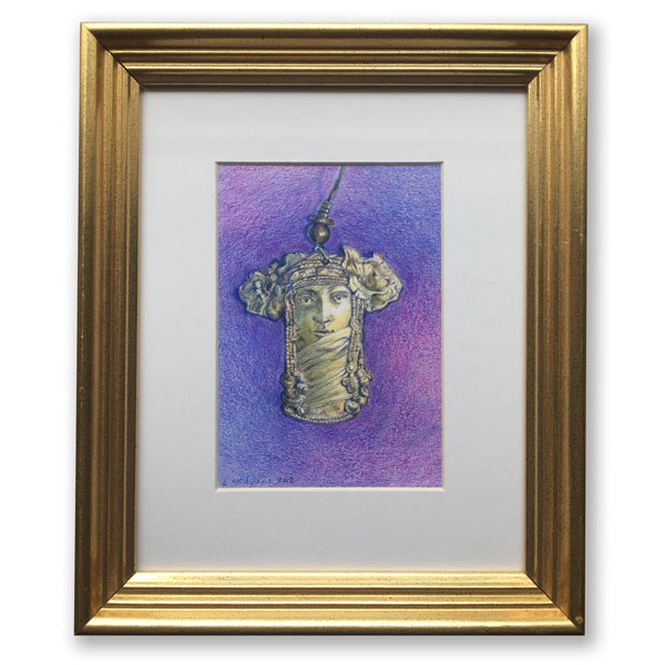 Golden brass art nouveau stye earring with a purple background iin a gold frame rendered in colored pencil by Lori McAdams
