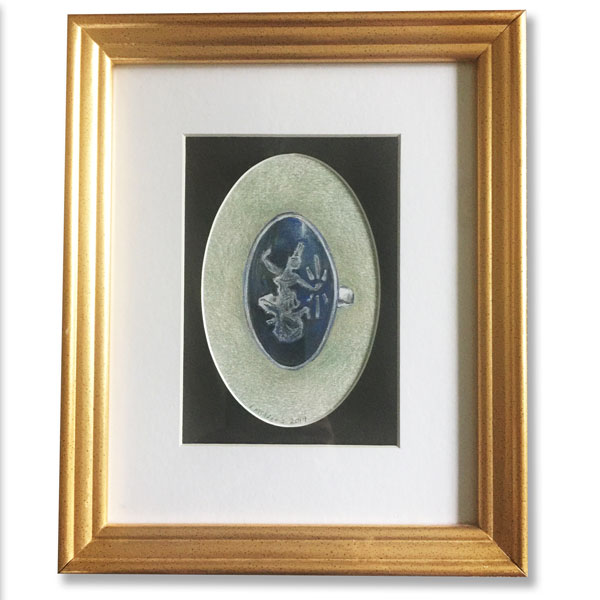 Oval silver Thai ring in a gold frame rendered in colored pencil by Lori McAdams