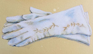 White Leather Vintage Gloves