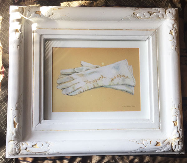 White leather vintage gloves rendered in colored pencil by Lori McAdams in white and gold accented carved wood frame