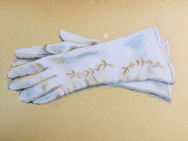 White leather vintage gloves rendered in colored pencil by Lori McAdams