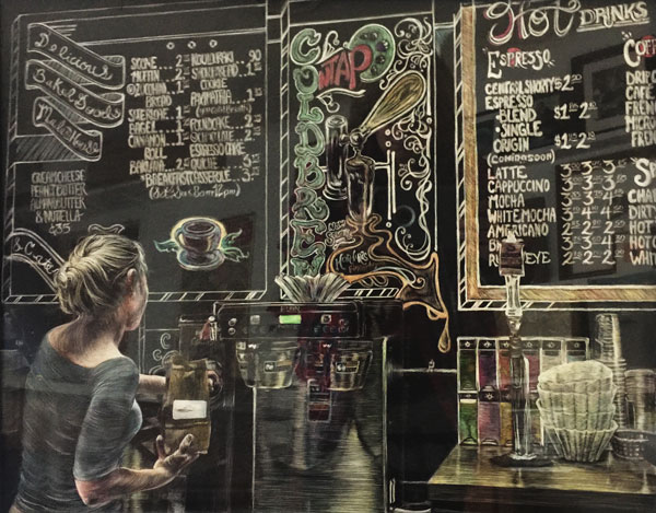 coffeshop menus and woman grinding coffee rendered in scratchboard