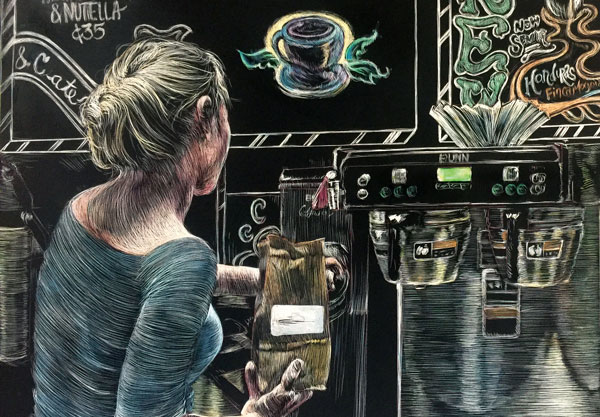 blonde barista grinding coffe in front of elaborately decorated charlkboard at coffee shop rendered in scratchboard and watercolor by artist Lori McAdams.