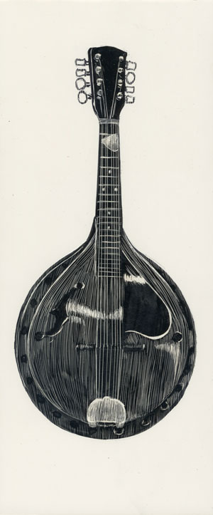 drawing of a mandolin rendered in scratchboard.