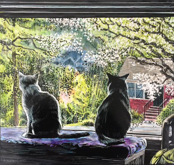 two cats looking out a window at spring blooms.