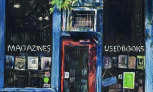 Color scratchboard inks and scratchboard of a blue used boostore with a red door and old air conditioner window unit.