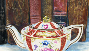 antique books and teapot rendered in color scratchboaerd by artist Lori McAdams.